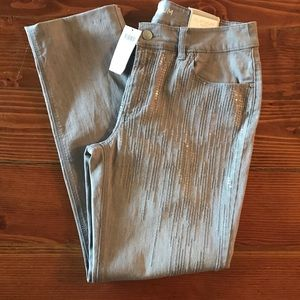 Grey Chico's platinum sequin slim leg jeans 0.5
